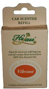 HIJAU, Car Air Freshener, Natural Aromatherapy, Vibrant: Orange Citrus 4-Pack Refills by Exotic Essentials. $4.49. Natural car air freshener with NO toxic chemicals or fragrances.. Vibrant Orange Blend- Invoke a feeling of joy, happiness & warmth. Ease anxiety, fear & helps calms depression with a new positive outlook.. Enjoy the soothing aroma of each pad for 5-10 days, then replace as needed.. Four (4) aromatherapy essential oil pads, made for you and your love...