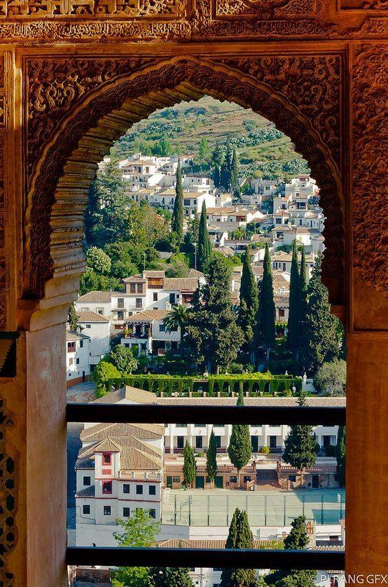 Granada, #Alhambra. Blick auf die darunterliegende Stadt.