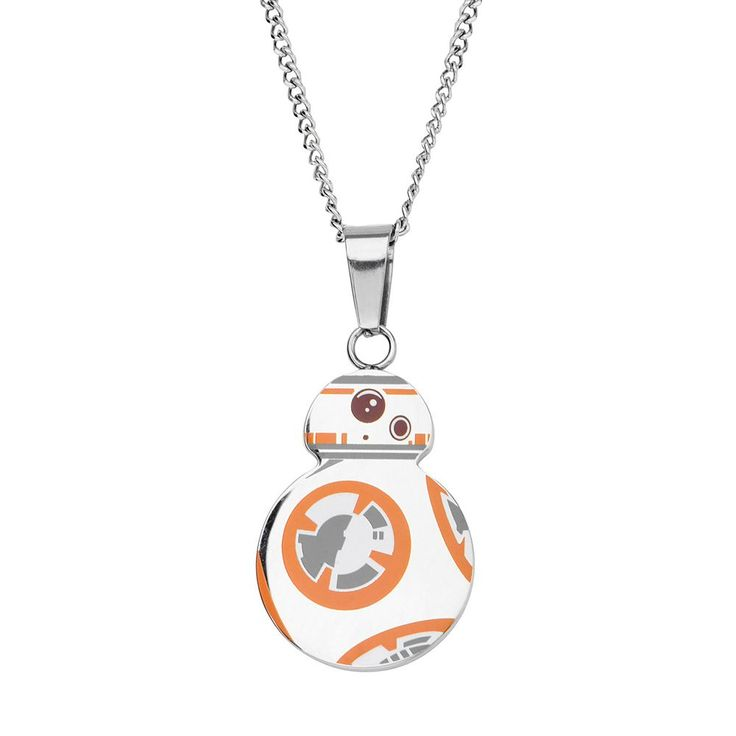 """Star Wars: Episode VII The Force Awakens Men's Stainless Steel BB-8 Pendant Necklace, Size: 22"""", Grey"""
