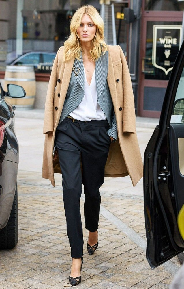 Anja Rubik has the best model-off-duty style: Camel Coat + Striped Blazer + Tailored Trousers