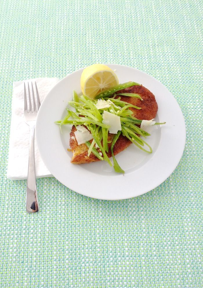 food & femininity: 5-Ingredient Chicken Milanese with Crunchy Snap Peas—Fancy Chicken Cutlets, Y'all!