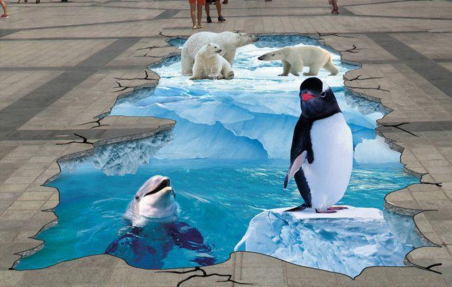 Decoration événementielle extérieure Revêtement sol trompe l'œil 3D paysage glaciaire - Le pingouin, le dauphin et les ours
