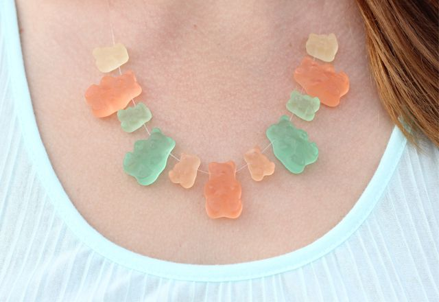 Sugarfina candy necklace created from Mama & Baby gummy bears