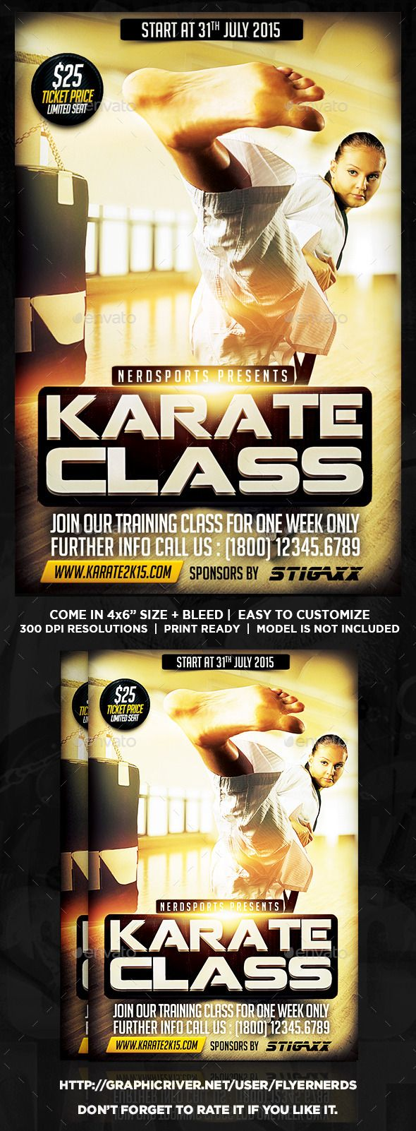 Karate Class 2K15 Sports Flyer by flyernerds Karate Class 2K15 Sports Flyer Description :46 with bleedPrint Ready ( CMYK, 300DPI ) Easy to edit and fully customizable Model Im