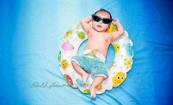 Baby Surfer/ Newborn Surf Shorts/ Baby Board Shorts/ Baby Boy Prop/ Handmade Crochet Baby/ Baby Shower Gift