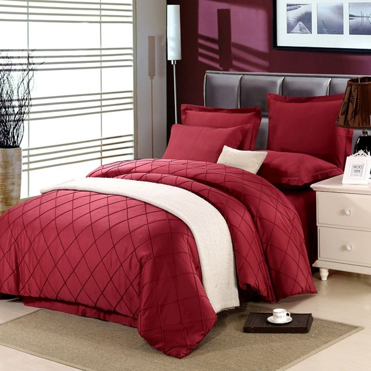 4-Pieces Imitated Silk Cotton Luxury Bedding Set Solid Color Square Diamond Bed Set King Queen Bed Linens Duvet Cover Bed Sheets