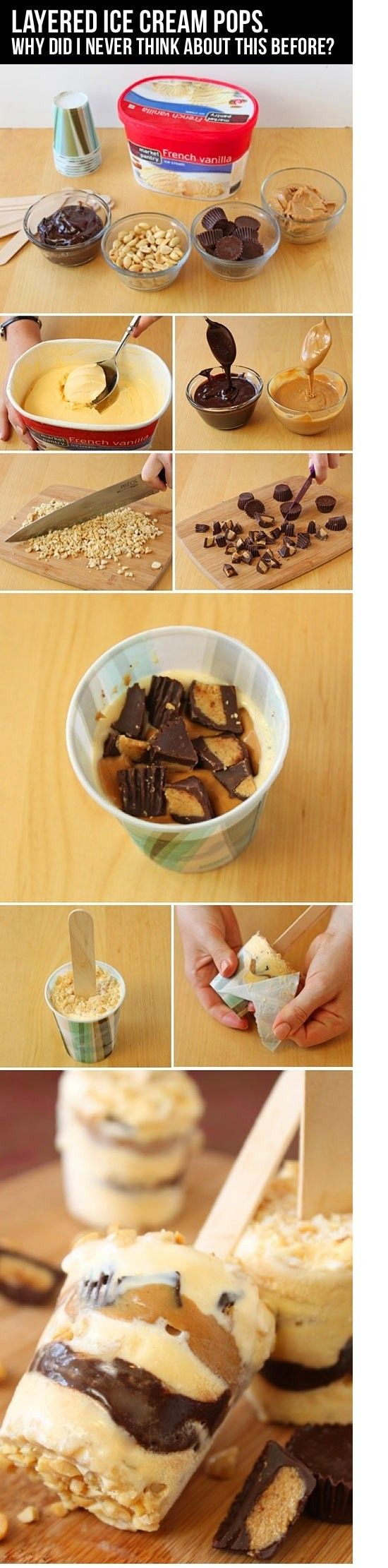 Layered Ice Cream Pops…Easy fun desert for kids. **dilute chocolate/peanut butter with milk, otherwise it will be a fudge ice cream.. not ice cream, ice cream