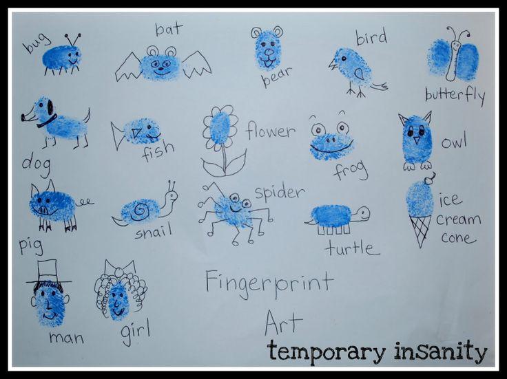 fingerprint animal | Temporary Insanity, Permanent Joy: Art Project #1 - Fingerprint Art