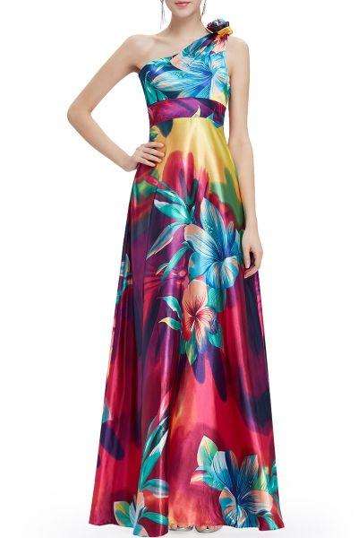 Cici.wang Colormix One Shoulder Floral Evening Dress | Maxi Dresses at DEZZAL