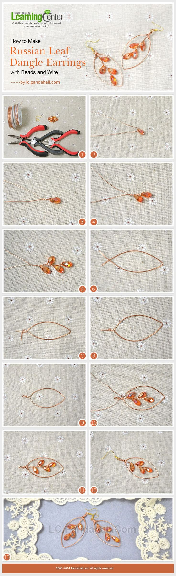 How to Make Russian Leaf Dangle Earrings with Beads and Wire