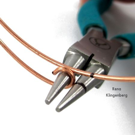 Making hooks in the wire ends for Gypsy Style Adjustable Wire Bracelet - tutorial by Rena Klingenberg