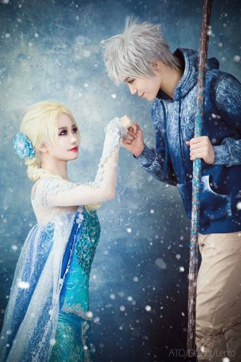 """Elsa and Jack Frost Cosplay by ATO and Delight on WorldCosplay.net, photo by Lento   Story of Jack & Elsa 2 """"Would you dance with me, Queen Elsa?"""""""