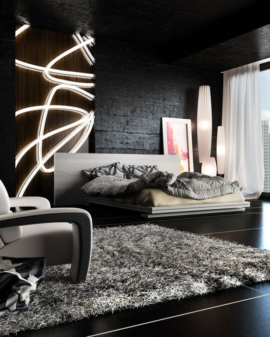 Rendered Black Bedroom for a contrasting and modern style with an edgy yet elegant appeal