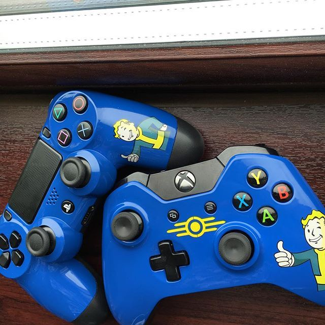 our fallout 4 themed PlayStation 4/ Xbox one controllers are now available for sale on our eBay page- link is in bio ! ⠀ LIMITED RELEASE- GET YOURS WHILE YOU CAN ⠀ Eligible for next- day delivery.