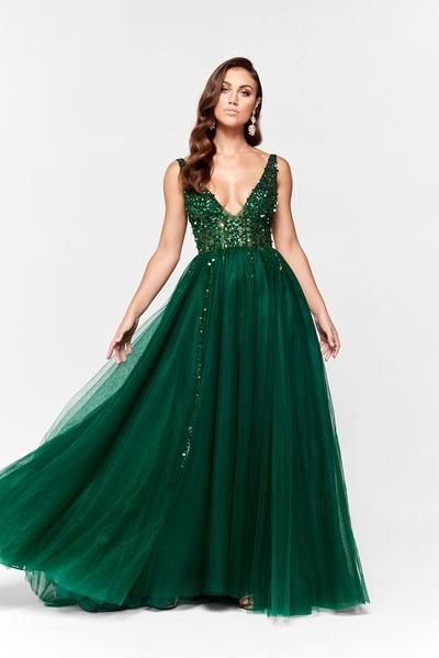 5a2da0d6ce8d A&N Princessa - Emerald Tulle Gown with Low Back and Beaded Bodice Dress –  A&N Luxe Label