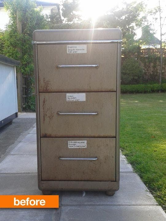 A rusty filing cabinet is found in a parking lot and with a little love and elbow grease turns into something beautiful.