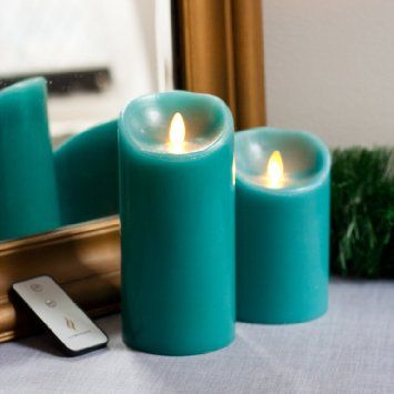 """Amazon.com : Luminara Set of 2 Moving Wick Flameless Candles with Remote - Sage Blue 5"""" and 7"""" : Patio, Lawn & Garden"""