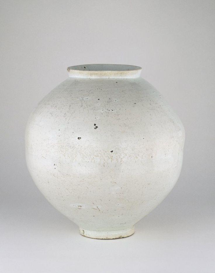 Glazed white porcelain 'full moon' jar.