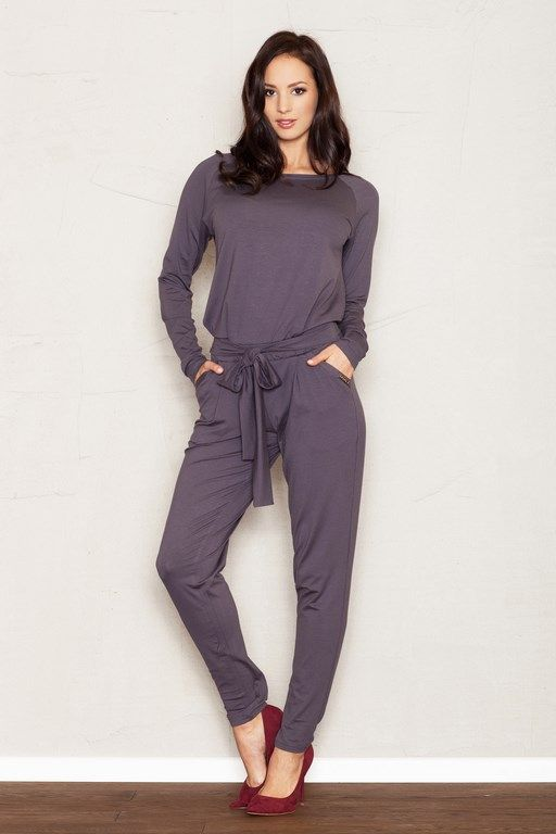 Feminine jumpsuit in shades of gray