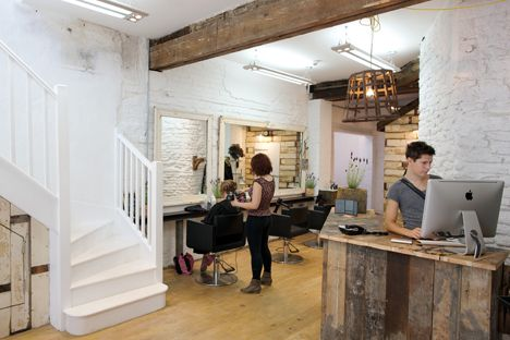 Reclaimed wood reception desk at Melanie Giles salon in Frome