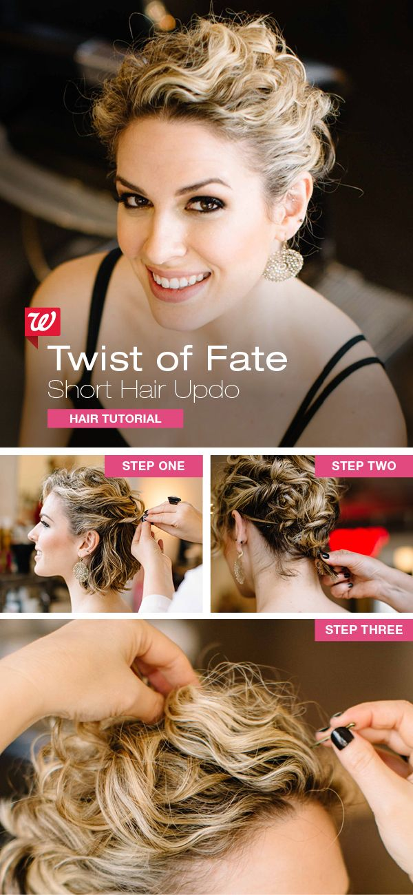 "A short hair updo is in your future once you pin down these simple steps: 1) Separate two sections of hair on each side. Twist each upward, then secure to the back of your head with bobby pins. 2) Twist the remaining hair at your nape, tuck under, & pin tightly. 3) Gather your bangs, pinch onto your crown, & secure with bobby pins. Set your gorgeous updo with extra-hold hairspray. PRO TIP: Even straight hair can create curls: Prep with ""beach"" saltwater spray & a diffuser."