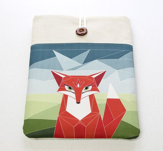 iPad cover sleeve, Woodland Fox, Nexus 10 case, Galaxy Tab sleeve, iPad Mini cover, front pocket, 10 tablet cover case