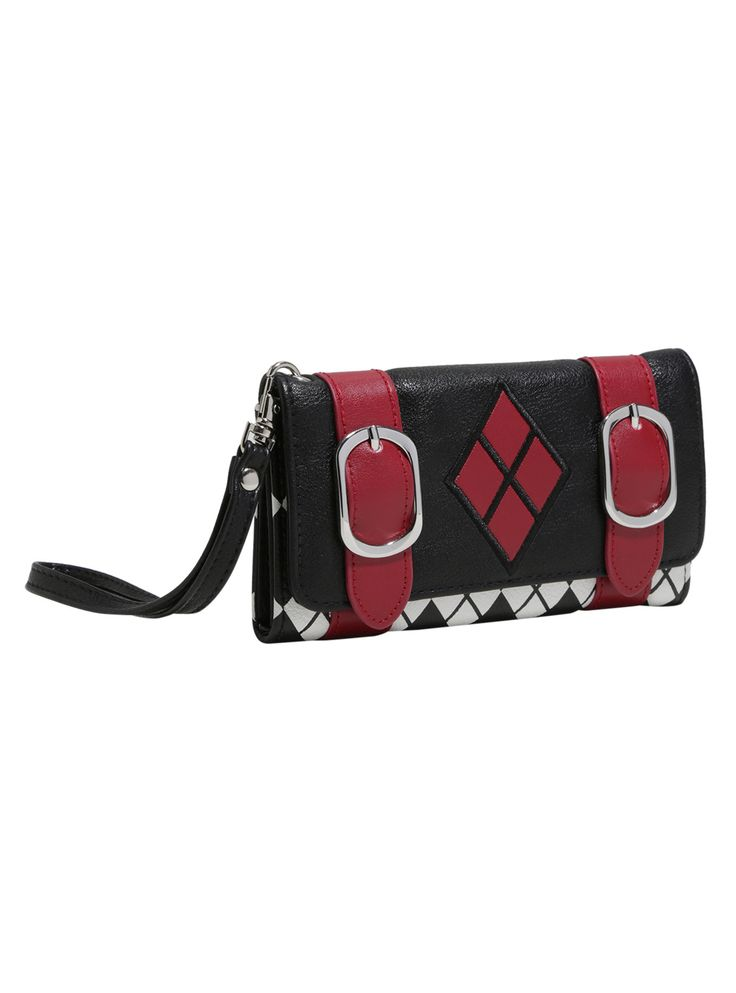 <div>Keep your wallet close with this wristlet strap. You never know what kind of hooligans could be out there. This faux leather wallet from DC Comics is inspired by Harley Quinn's classic black and red jester outfit. The main body is black and white diamond plaid with a black flap closure featuring two red buckle straps, a red diamond embellishment on front and a spade and Harley's mallot on back. Inside are 5 card slots with a clear ID display and an interior zip compartment....