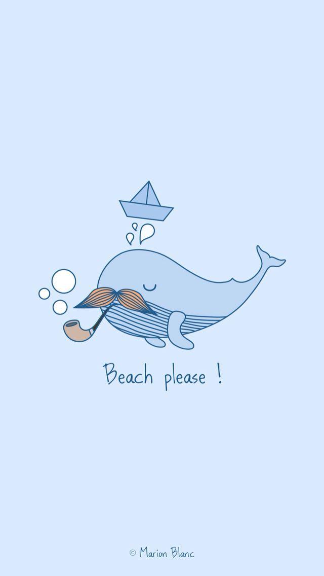 Whale vector illustration ©Marion Blanc