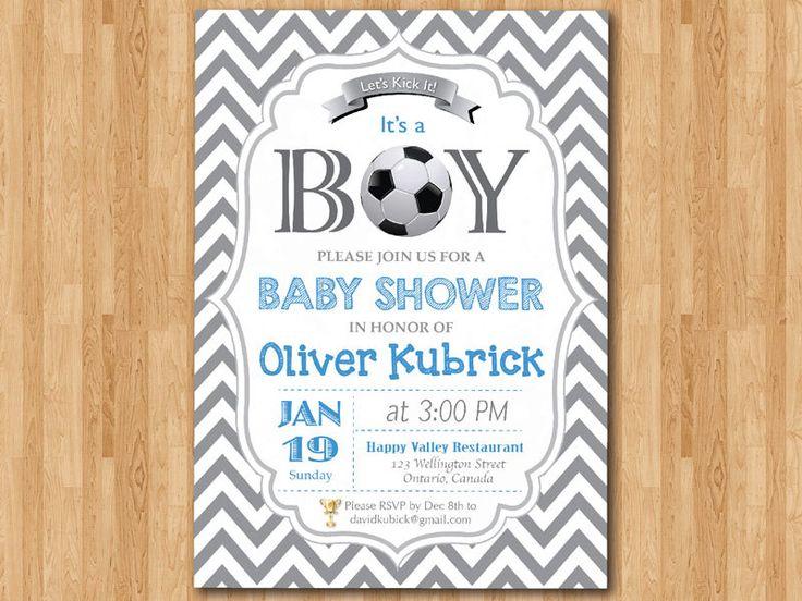 Soccer Baby Shower Invitation. Baby boy chevron by arthomer, $10.00