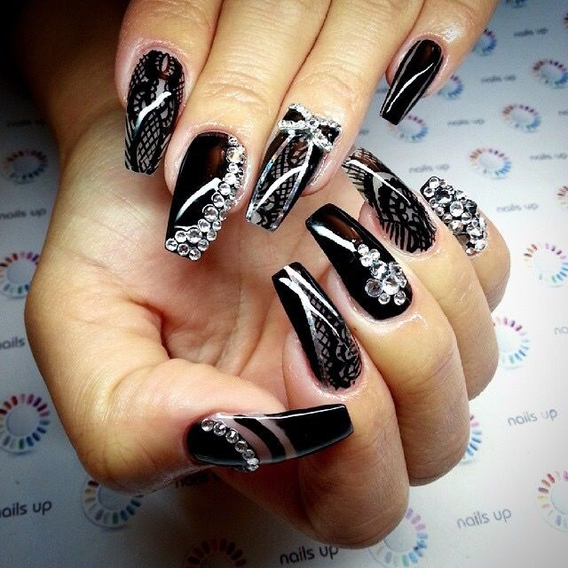 189 best badass nails images on pinterest nail designs make up black fancy claws with bling prinsesfo Image collections