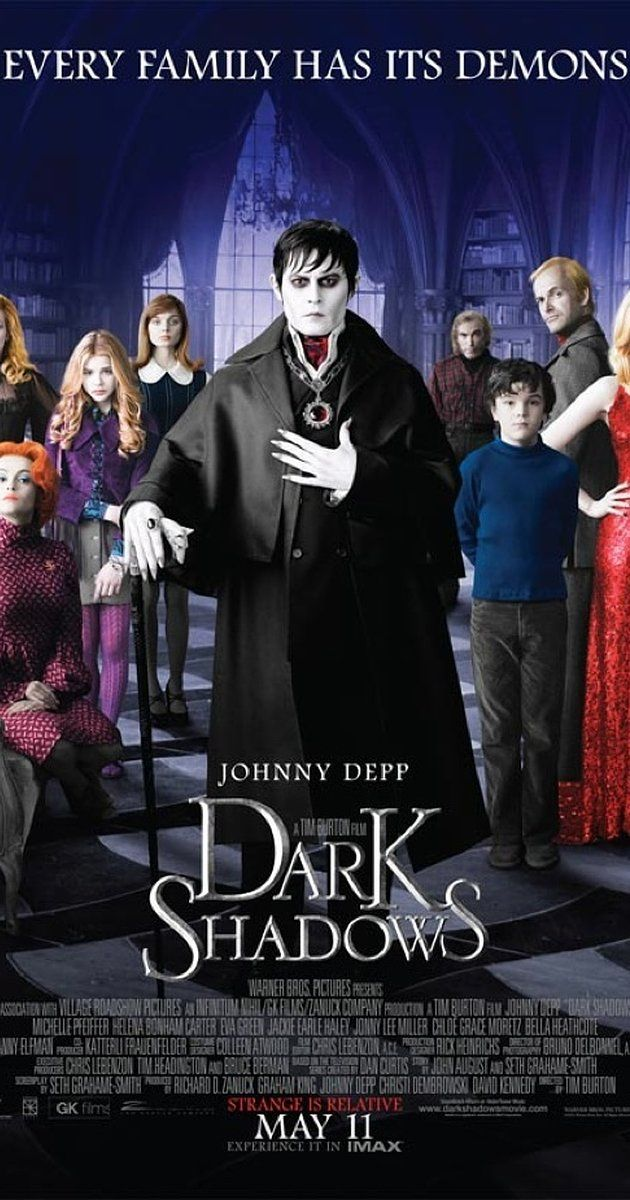Directed by Tim Burton.  With Johnny Depp, Michelle Pfeiffer, Eva Green, Helena Bonham Carter. An imprisoned vampire, Barnabas Collins, is set free and returns to his ancestral home, where his dysfunctional descendants are in need of his protection.