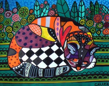 Cat Art   Cat Folk Art Cat Print Poster or by HeatherGallerArt, $24.00