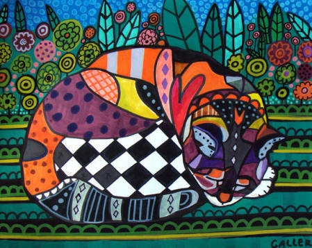 Cat Art   Cat Folk Art Cat Print Poster or by HeatherGallerArt, $24.00