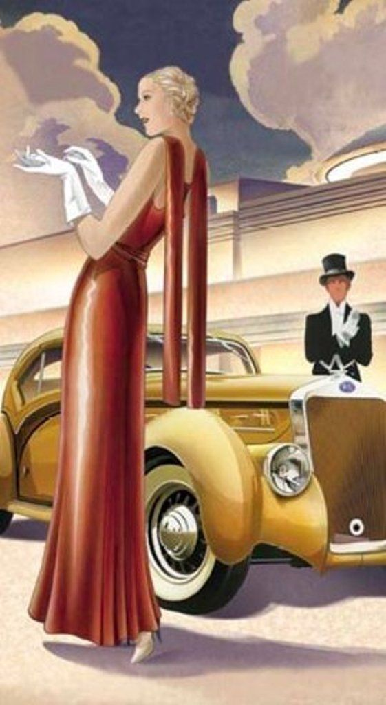 1930s vintage fashion illustration- just need to borrow a classic car...
