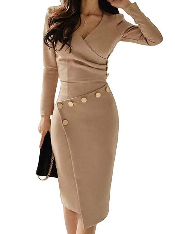 Surplice Ruched Single Breasted Decorative Button Plain Bodycon Dress - Cathybuy.com 3