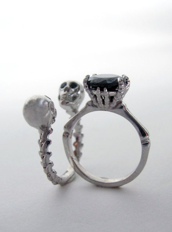 skull wedding set who says you have to be clich - Skull Wedding Rings