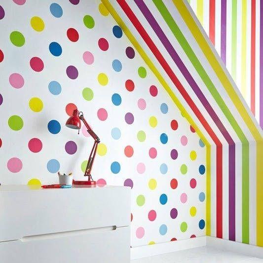 Graham & Brown Dotty Multi Bright Wallpaper, Pink