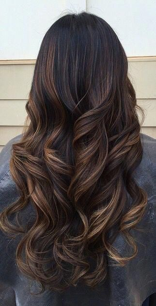 Long brunette highlights.  Emerald Forest shampoo with Sapayul oil for healthy, beautiful hair. Sulfate free, vegan friendly & cruelty free shampoo. shop at www.emeraldforestusa.com #haircolorideasforbrunettes