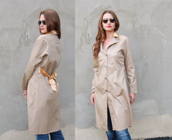 Vintage Brown Golden 60s Mod Autumn Coat Jacket Duster / princess A-line Midi Medium Pea Style 1960s clothing Women Pocket Button Up Bow M L