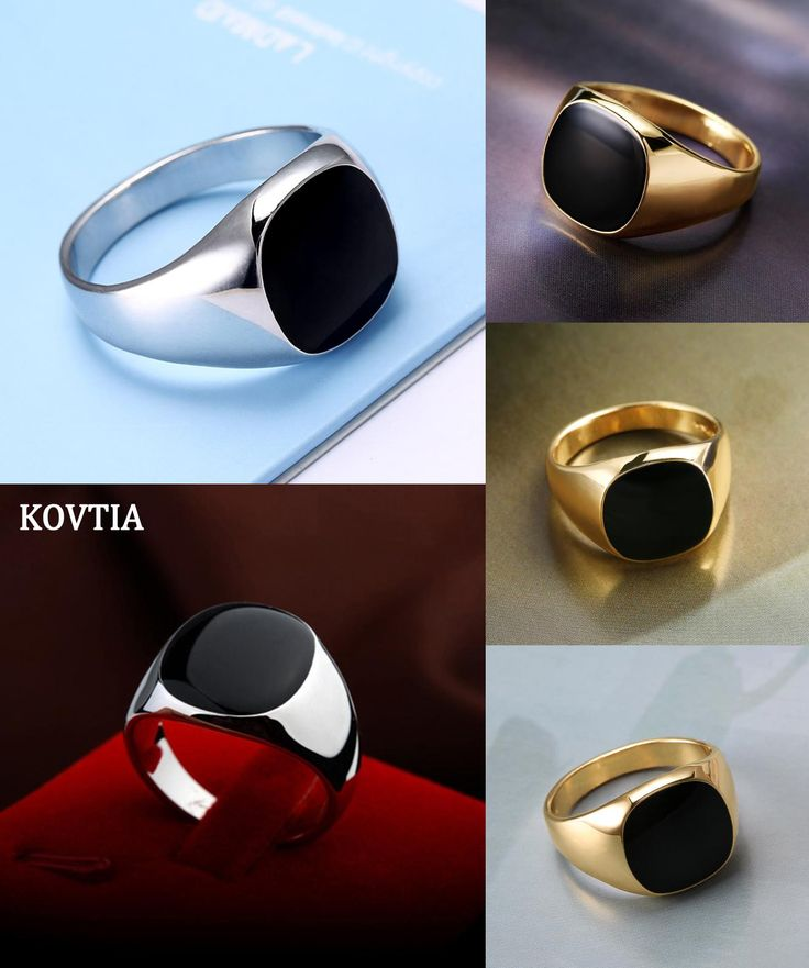 [Visit to Buy] KOVTIA Fashion Men Jewelry Black Rings Zinc Alloy Wedding Bands Cheap Men Ring Hot Sale White Gold Color Smooth Rings anel #Advertisement