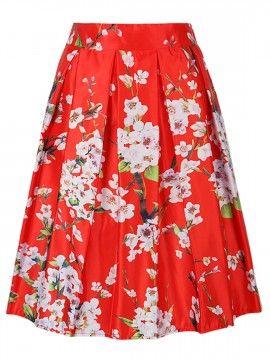 Red Sakura Imprimir cintura alta falda plisada del patinador