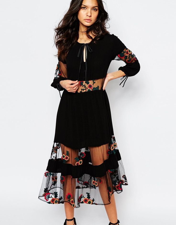 Image 1 of For Love and Lemons Eva Midi Dress with Floral Embroidery