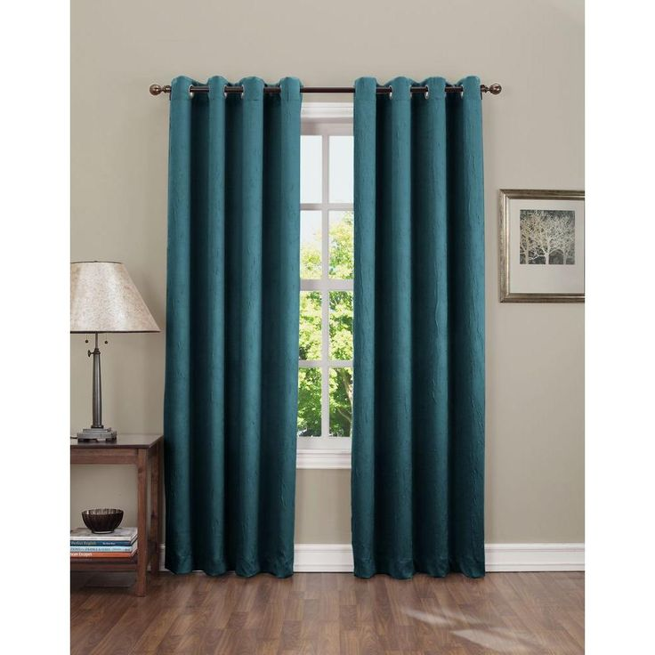 Sun Zero Semi-Opaque Gregory 84 in. L Crushed Room Darkening Curtain Panel in Teal (Price Varies by Size)