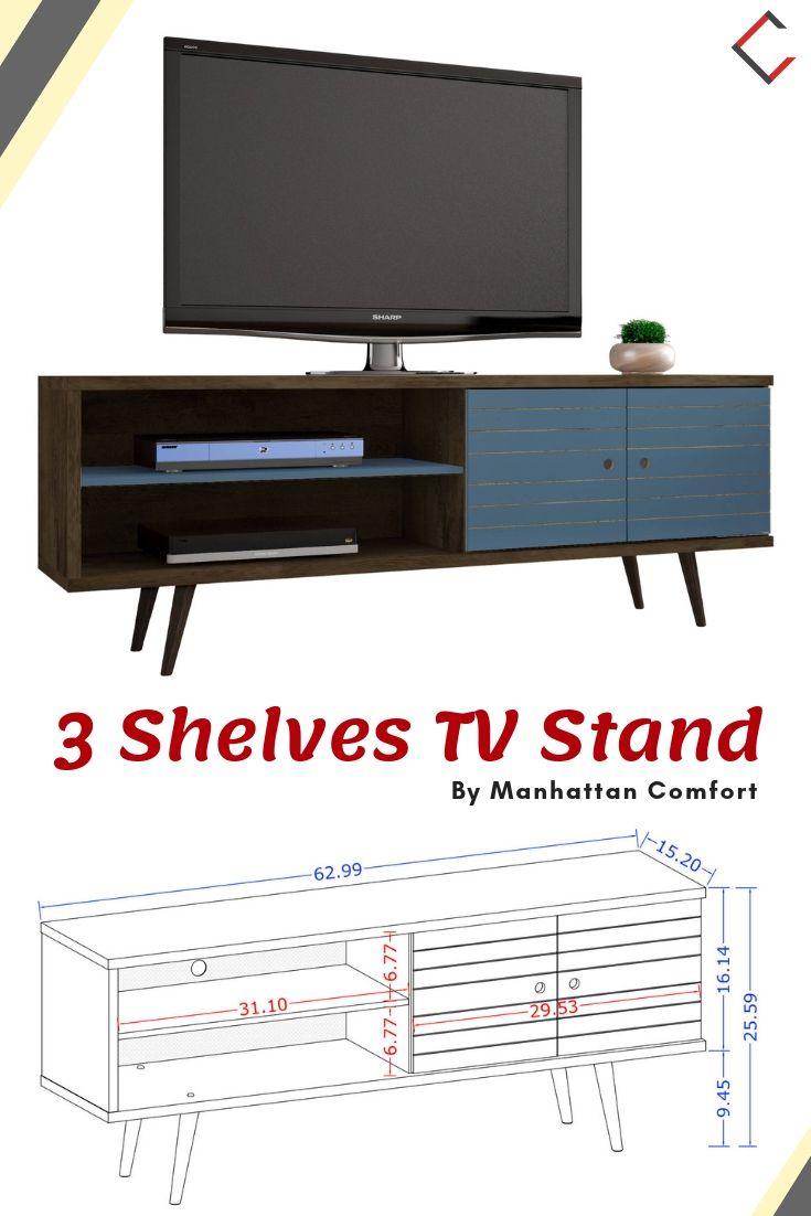 Manhattan Comfort Liberty Aqua Blue 3 Shelves Tv Stand The Classy