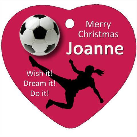 Girl Soccer Personalised Christmas Tree Ornament, Soccer Design