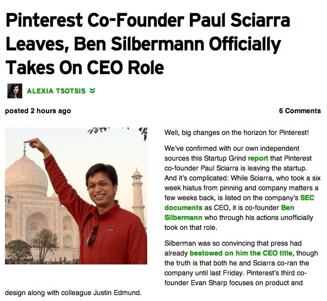 FORMER -- Pinterest Co-Founder Paul Sciarra Leaves, Ben Silbermann Officially Takes On CEO Role