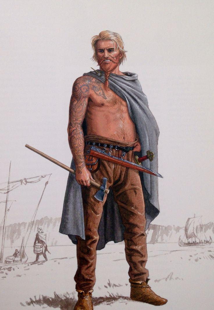 """Kriger ved de russiske floder tegnet efter arabiske rejsebeskrivelser. Bemærk tatoveringerne og den bare overkrop, som dækkes af kappe. Dette beskrives ret præcist.  Efter """"Vikinger i krig""""."""