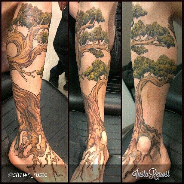 Realistic Tree Leg Sleeve Tattoos