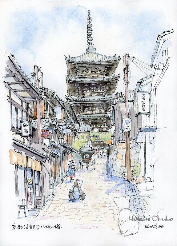 2016-5-28「法観寺八坂の塔」28x38cmインク (16-062)ブログ京都情報ランキング