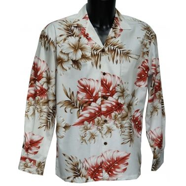 chemise hawaienne ...LONG WHITE HIBISCUS